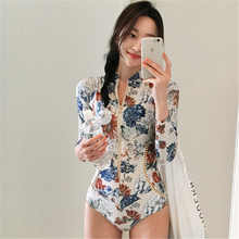 One Piece Rash Guard 2019 Print Swimwear Long Sleeves Rashguards Zipper Bodysuits Floral Surf Clothes High Neck Wetsuits XL Swim(China)