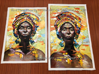 Hand Painted Wall Art Colorful Abstract African Women Oil Painting Modern Decorative Artwork Contemporary Knife Portrait