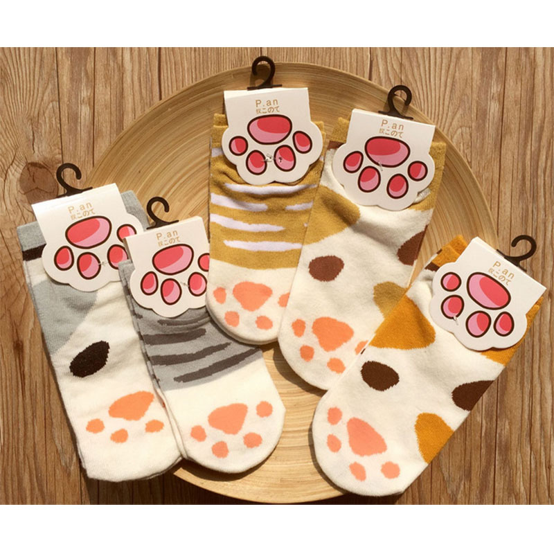 1set Girls Cute Cat Claw Style Short Ankle Socks Newly Design Anime Neko Atsume Kawaii women cotton Socks Cosplay Props