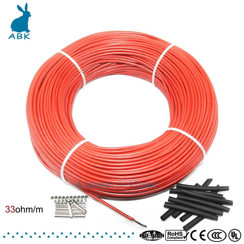 12 k 100 mètres en fiber de carbone à faible coût de chauffage fil câble Chauffant Anti gel thermique isolation système de plancher chauffant