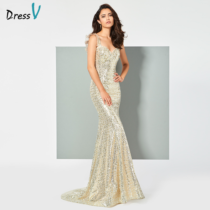 Dressv Party-Gown Sequins Mermaid Sweetheart-Neck Evening Champange Sleeveless Lace Customize