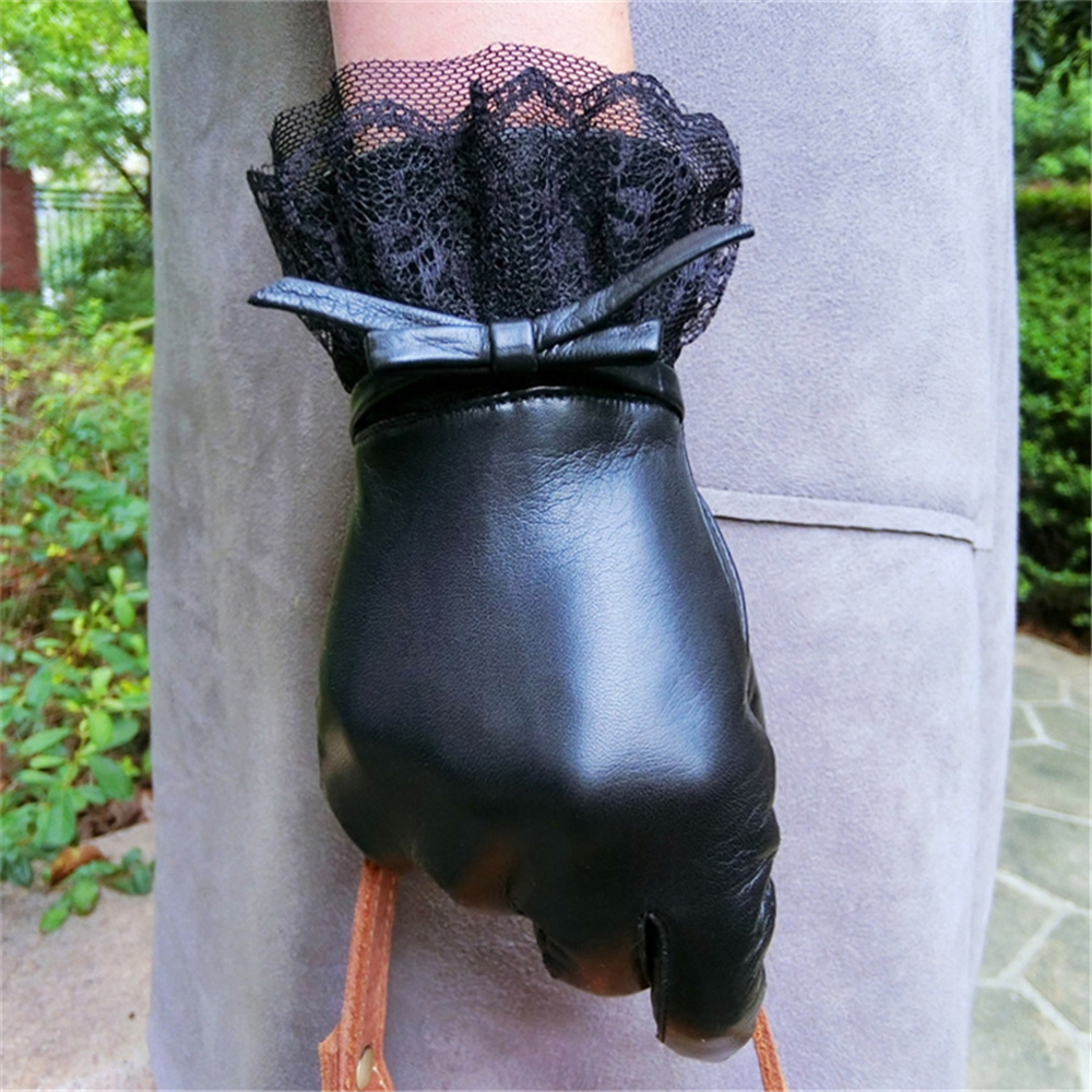 High Quality New Genuine Leather Gloves Ladies Winter Cashmere Warm Fashion Lace Wrist Sheepskin Gloves Touch Screen EL072PC2 5 in Women 39 s Gloves from Apparel Accessories