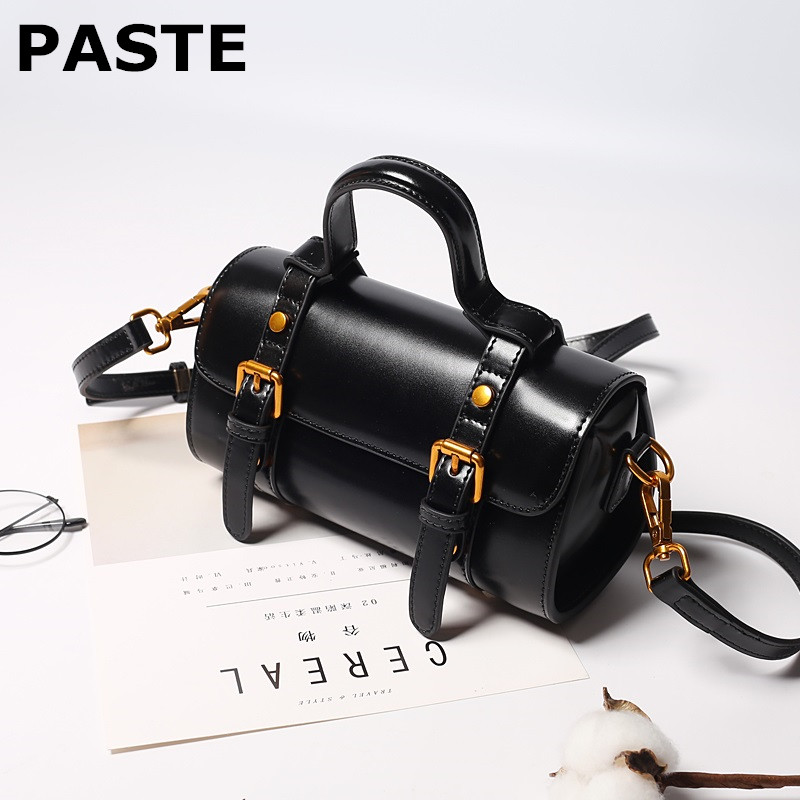 Genuine Leather Woman Bag Pillow Type Lady Shoulder Bag Shopping Trip Boston Bag oil wax cow leather handbag Top-Handle bag tote 100% genuine leather make cow leather handbag shoulder bag shell bag middle aged women suitable for life shopping the best gift
