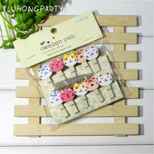 10PCS Cute Cate Animal Wooden Clothespin Office Supplies Photo Craft Clips DIY Clothes Paper Peg Party Decoration