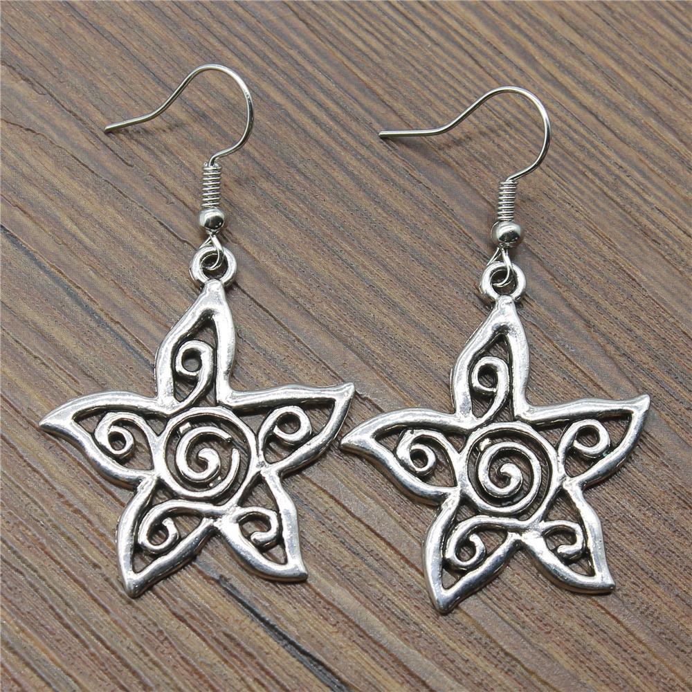 Dropshiping Earrings Dangle Earrings Women Fashion Jewelry 33x30mm Hollow Carved Flower Drop Earrings