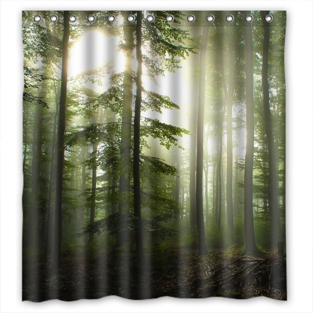 CHARMHOME Sunshine Forest Bath Curtain Hotselling Promotion Custom Fabric Polyester Shower