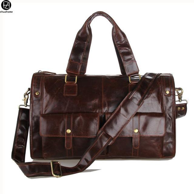 100% realmente couro homens sacos de viagem do vintage genuíno couro bolsa de ombro para o homem de negócios bolsa de viagem mochilas de viagem malas