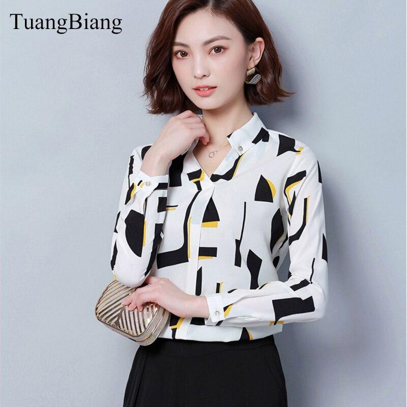 2019 Spring Women office lady Chiffon Shirt blusas femme V-Neck Cotton Geometric Print Blouse elegant Long sleeve Striped Blouse 3