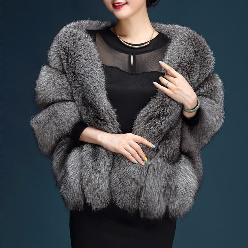Mode paragraphe mariée mariage châle blanc grande taille artificielle renard fourrure manteau femmes fourrure gilet fausse fourrure manteau rose PC231 - 5