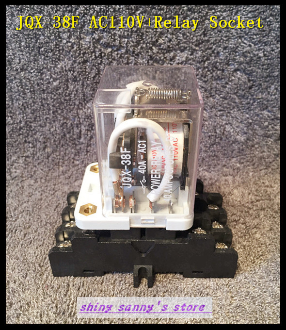 1 set JQX-38F AC 110V 40A 11 Pin 3PDT Coil Power Relay With Socket  Brand New 2015 new arrival 12v 12volt 40a auto automotive relay socket 40 amp relay