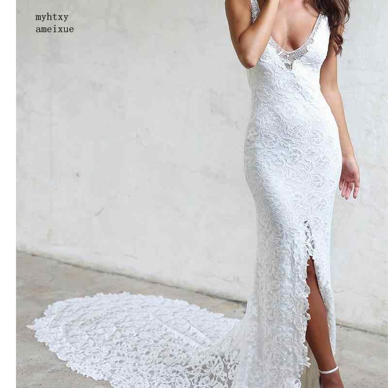 Bonito Barato China Longo Branco Da Sereia Do Laço Do Marfim Praia Vestidos de Casamento 2019 Vestidos De Noiva Vestido De Noiva Com Trem Da Capela