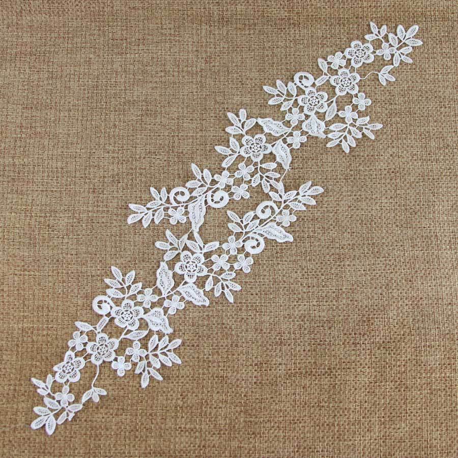 Online Shop 1 Pair Off White Fabric Venise Venice Lace Mirror ...