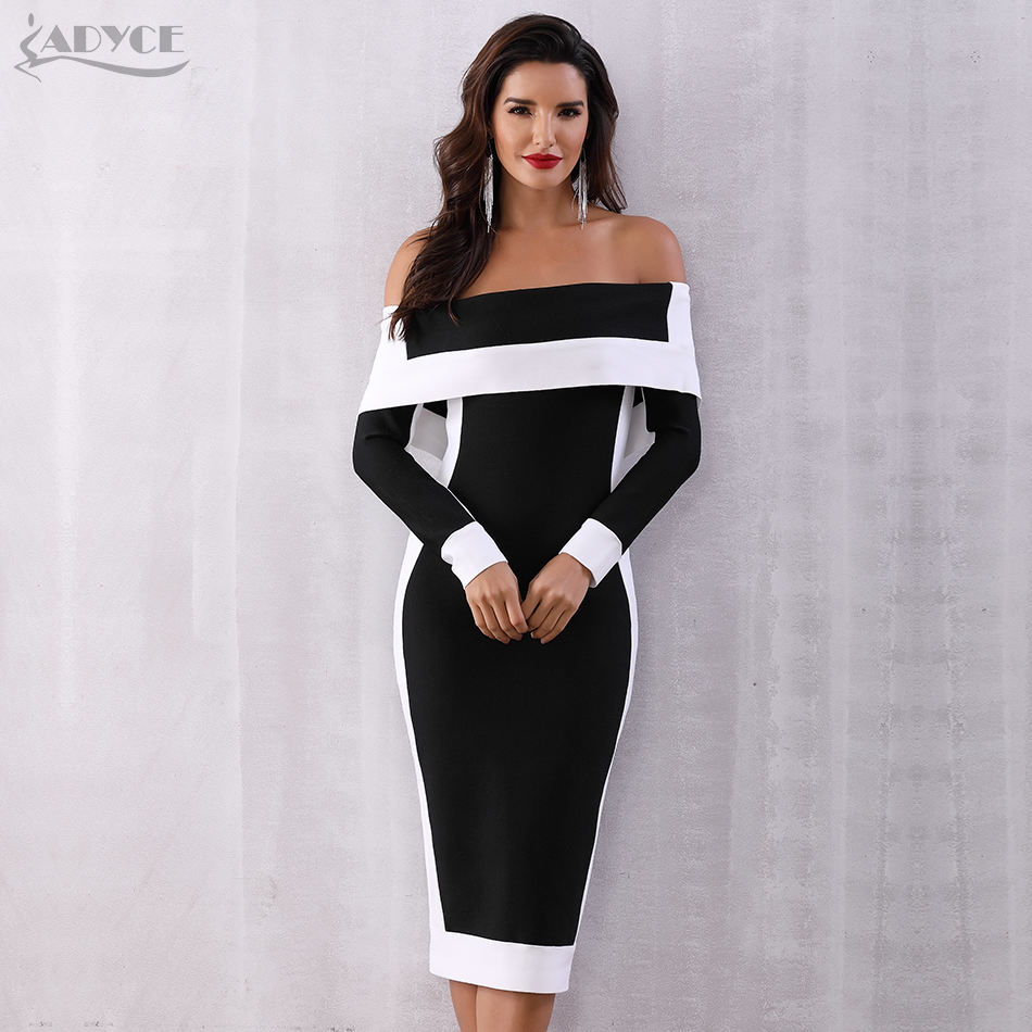 Adyce Sexy Winter Bodycon Bandage Dress Women Vestidos 2019 New Long Sleeve Off Shoulder Club Dress