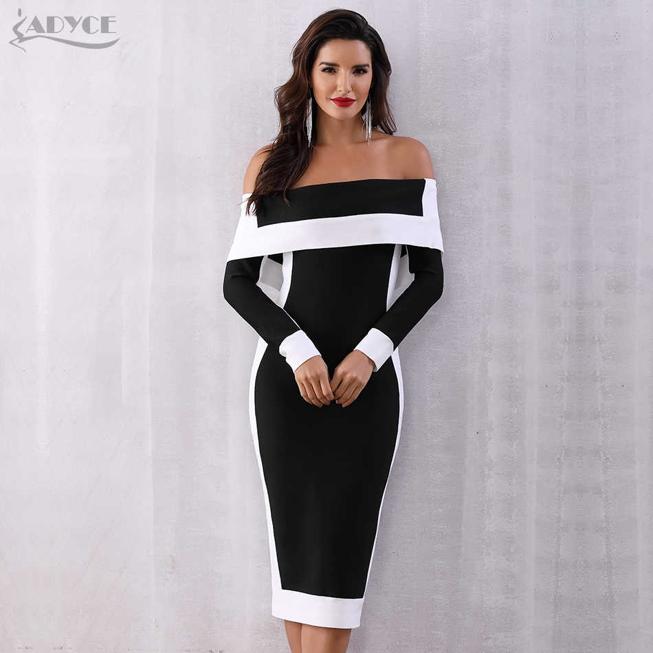 0a922245c46 Adyce Sexy Summer Bodycon Bandage Dress Women Vestidos Verano 2019 New Long  Sleeve Off Shoulder Club