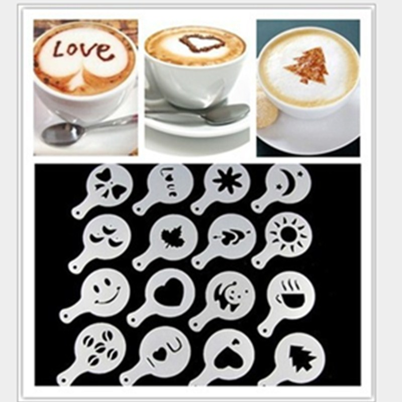 16Pcs Coffee Latte Cappuccino Barista Art Stencils Cake Templates Coffee Tools Accessories Gusto coffee filter coffee pot in Coffee Pots from Home Garden