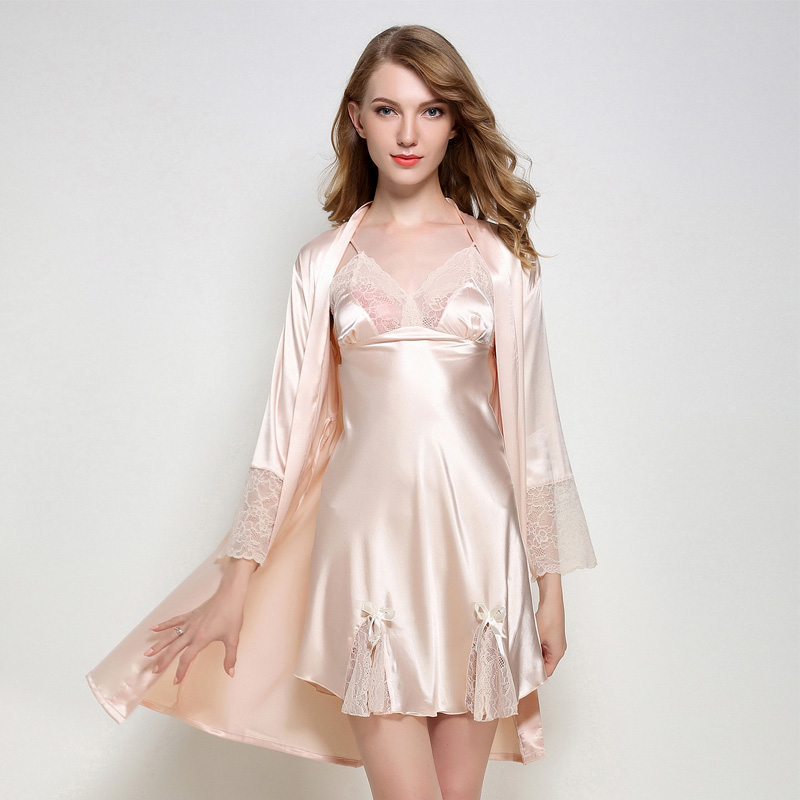 Summer New Women Satin Lace Robe Flower Spaghetti Strap Nightdress Solid Mini Sleepwear Sexy Twinset Robe Set For Lady M L XL