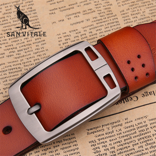 100% cowhide genuine leather belts for men brand male pin buckle jeans cowboy Mens Belts Luxury Leather Designer High Quality