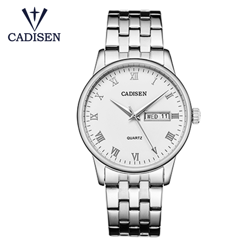 6127 Cadisen men watch top brand luxury business stainless steel quartz classic waterproof clock male
