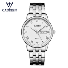 лучшая цена 6127 Cadisen men watch top brand luxury business men watch stainless steel quartz watch classic waterproof clock male