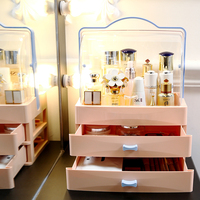 M pink large makeup storage organizer box can put large bottles blue white cosmetics makeup drawer organizer wih lid cover C5222