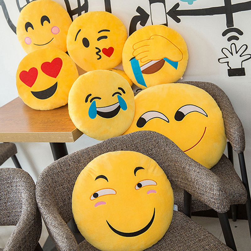 30 CM Soft Emoji Yellow Round Cushion Emoticon Stuffed Plush Toy Smiley Pillow Activity Small Gift Funny Hold Pillow #253935 4