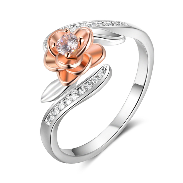 925 Sterling Silver Rose Flower Shape Rings For Women Fashion CZ Stone Rose Gold
