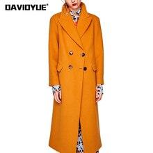 Printemps Femmes de coupe-vent Orange laine Tranchée Manteau femelle  Tournent Vers Le Bas à double boutonnage outwear 2018 Ceint. 7cf6a179be5