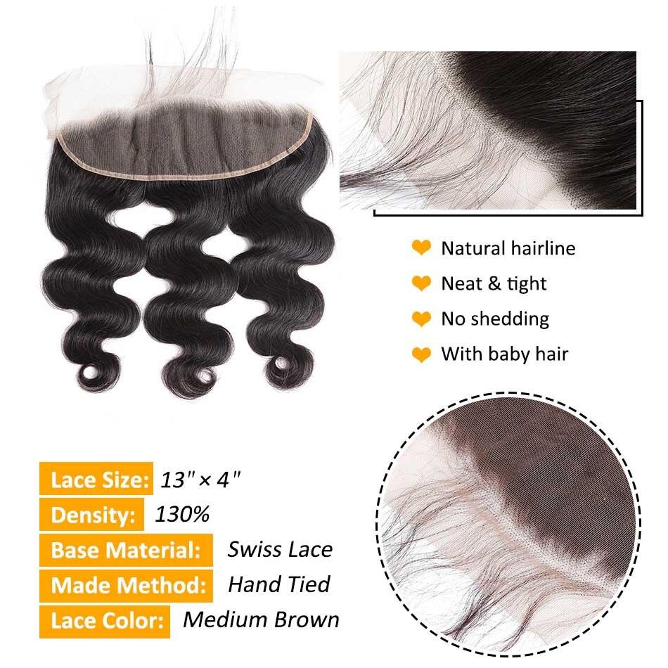 Ear To Ear Lace Frontal Closure Med Bundles Body Wave Peruvian Human - Menneskehår (sort) - Foto 5