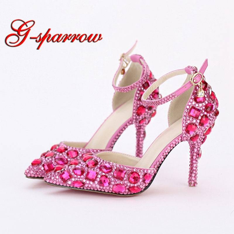 Rhinestone Bride Shoes Pointed Toe High Heel Stiletto Shoes Ankle Strap Wedding Party Shoes Silver Pink Red Color Summer Sandals