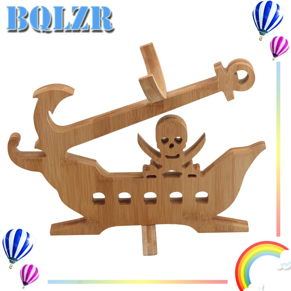 BQLZR 32x25cm Wood Color Bamboo Folding Wine Bottle Rack Holder Skull Shape недорого