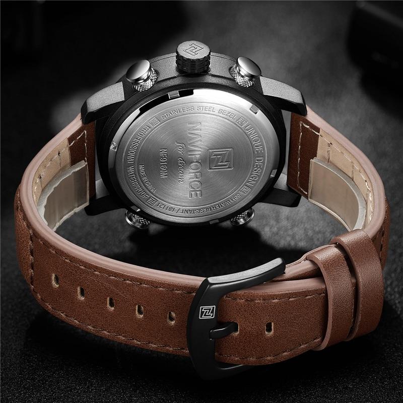 Image 4 - NAVIFORCE Watch Men Top Brand Luxury Digital Analog Sport Wristwatch Military Genuine Leather Male Clock Relogio Masculino 9160-in Quartz Watches from Watches