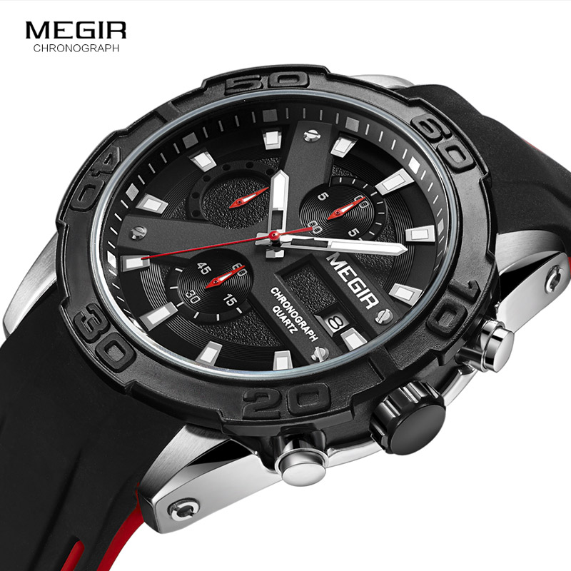 MEGIR Fashion Men's Sports Quartz Watches Luminous Chronograph Analogue Wrist Watch for Man Black Silicone Strap 2055GS-BK-1 стоимость