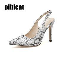 high heels women's office shoes snake print Dress Stilettos heels closed toe sandals blue heels pointed sandals 2019 new shoes цена 2017