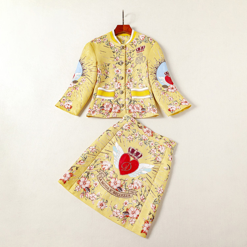 High Quality Sequined Jacquard Golden yellow Red heart print Button Fly short coat Above Knee, Mini Half skirt Women's Sets 2018 - 3