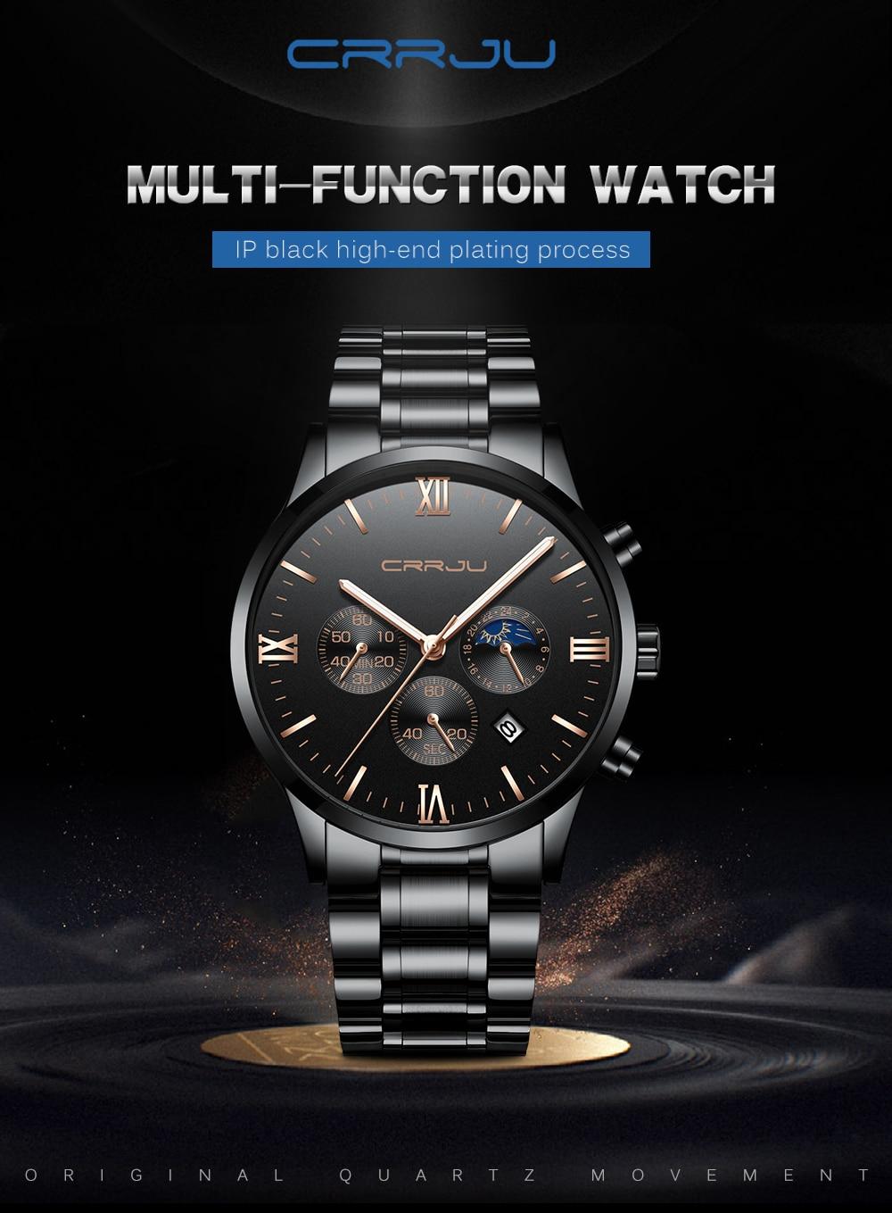 593a03e7af0 2018 CRJU Homens Relógio de Quartzo Homens Top Marca De Luxo ...