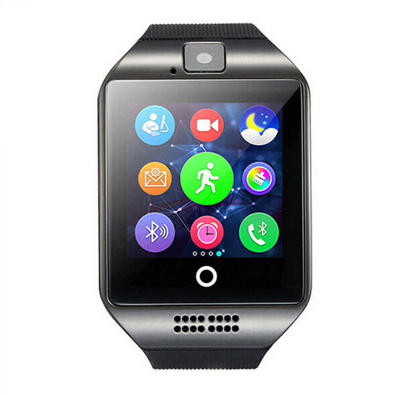 Беспроводные устройства Q18 Шагомер Смарт часы с Сенсорный экран камера TF карта <font><b>Bluetooth</b></font> SmartWatch для Android <font><b>IOS</b></font> Телефон
