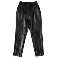 Мода 2018 из натуральной овечьей кожи женский, черный эластичный пояс штаны тонкие корейские брюки складки молнии Натуральная кожаные штаны