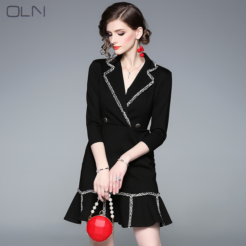Dress Summer Vestidos Korean OLN 2019 Spring Black Suit Collar Ruffled Waist Slimming Sexy Fishtail Dress For Women W