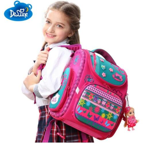 Delune New European Children School Bag Girls Boys Backpack Cartoon Mochila Infantil Large Capacity Orthopedic Schoolbag 2016 new arrival cute despicable me kids bag cartoon minions backpack schoolbag for girls children school bags mochila infantil