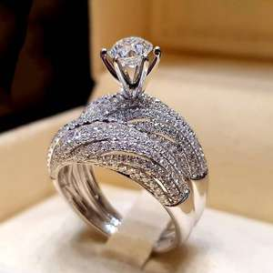 Jewelry White-Ring Ring-Size Bride Wedding-Engagement Dazzling Silver Natural 6 5 9 8