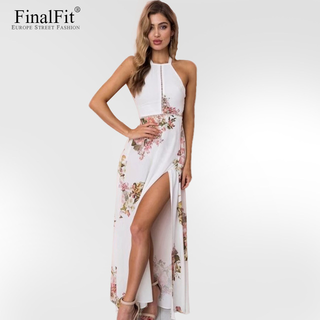 b8edee9ec5 Crochet Halter Dress Maxi Floral Print Hollow Out Thigh Split Bohemian  Holiday Beach Long Dress Women