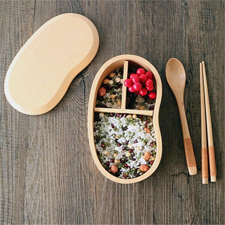 Натурального дерева чаши коричневый Цвет деревянный Bento Box Ланч-бокс Новинка Дизайн японский Стиль суши Посуда чаша Еда контейнер
