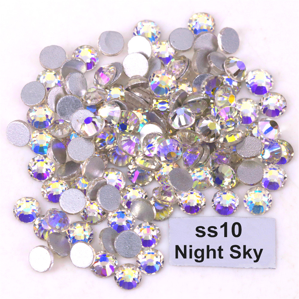 1440 Stks/partij Hoge Kwaliteit Ss10 (2.7-2.9mm) Night Sky Lijm Op Platte Achterkant Kristallen/niet Hotfix Rhinestones Plaksteen Zonder Hot-fix