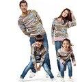Ropa de la familia establece camuflaje clothing para otoño invierno suéteres nueva familia de madre e hija de ropa a juego