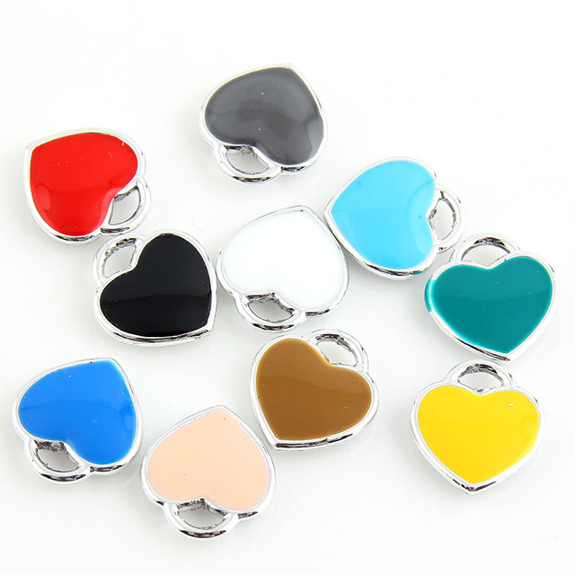 10pcs Enamel Heart Shape Charm Pendants Sliver plated Alloy beads Jewelry Findin