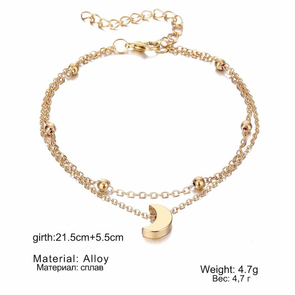 Simple Moon Anklet Female Anklets Barefoot Sandals Foot Jewelry New Fashion Anklets On Foot Ankle Bracelets For Women Leg Chain