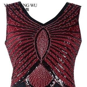 Image 5 - 1920s Sequin Vintage Dress Tassel Sleeveless Flapper Dress Evening Party V neck Bodycon Fringed Sleeveless Latin Dance Clothes