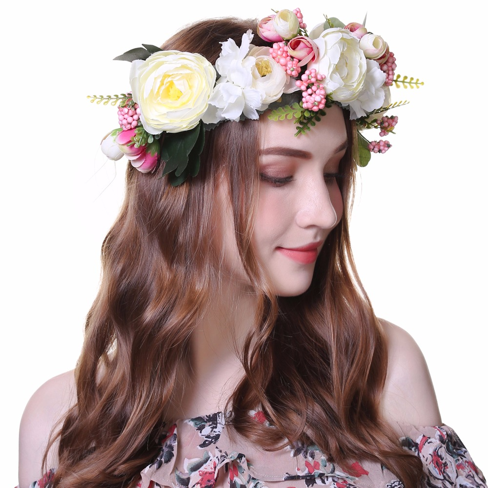 2017 new women rose flower headband wreath kids party floral awaytr 1 pc handmade woman girls artificial flower headband party wedding fabric flower wreath hair turquoise izmirmasajfo