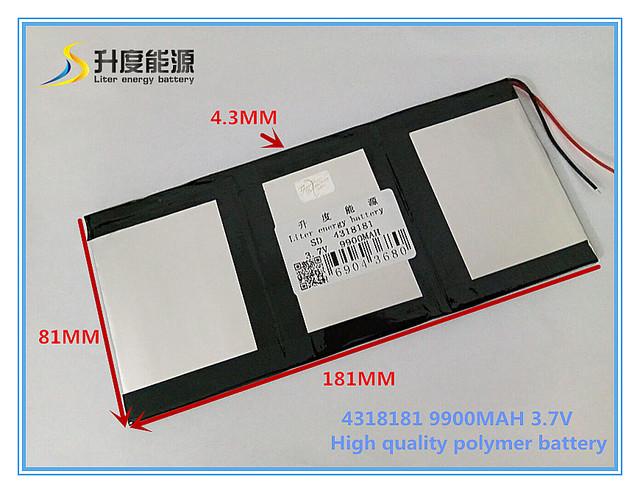3.7 V 9900 mAH SD 4318181 (polímero de íon de lítio/bateria de Iões de lítio) para tablet pc PIPO M9 pro 3g/max M9 quad core