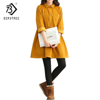 Vintage Corduroy Long Sleeves Peter Pan Collar Mori Girl Yellow Dresses Thicken Autumn Winter Women Dresses
